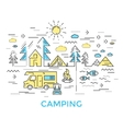 Camping Line Composition vector image
