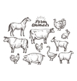 Farm sketch Collection animals such as vector image