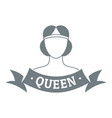queen logo simple gray style vector image