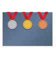 Three Medals On Blank Card vector image