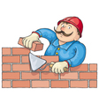 Bricklayer At the Work vector image