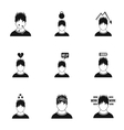 Emotions icons set simple style vector image