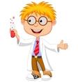 Boy cartoon doing holding reaction tube vector image vector image