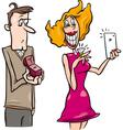 woman doing proposal selfie cartoon vector image vector image