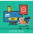 Square banner online shopping and payment vector image