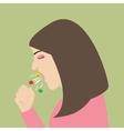 woman cough sneeze spreading virus flu vector image