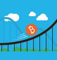 bitcoin coin on roller-coaster vector image