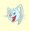 cartoon of a laughting rabbit head vector image