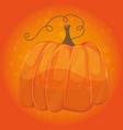Cartoon pumpkin on orange color background - vector image