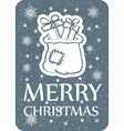 christmas card with santa bag grey copy vector image