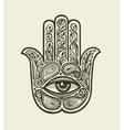 Ornate Hamsa Hand of Fatima Drawn ethnic amulet vector image