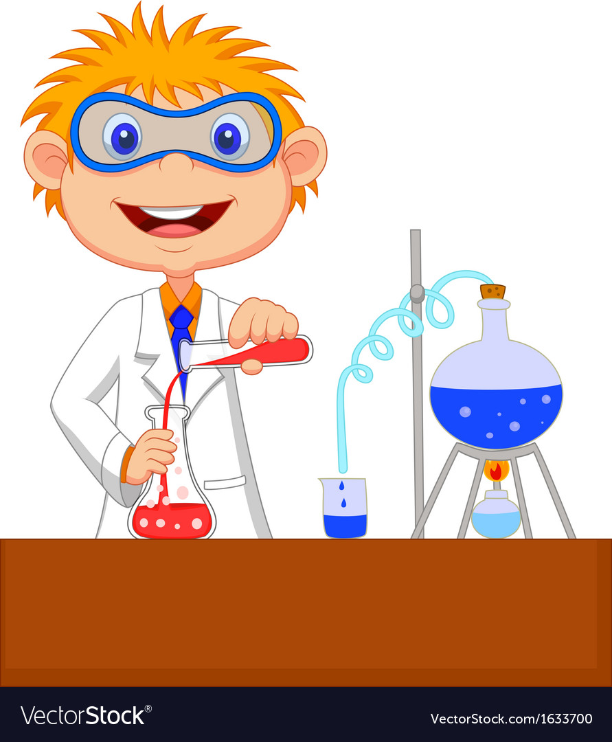 Boy cartoon doing chemical experiment vector