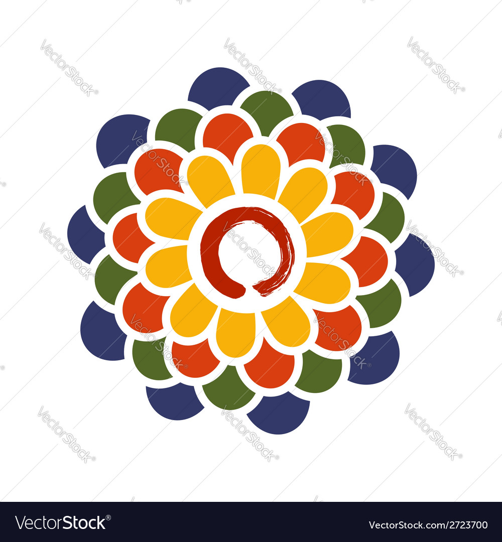 Colorful lotus and zen circle vector