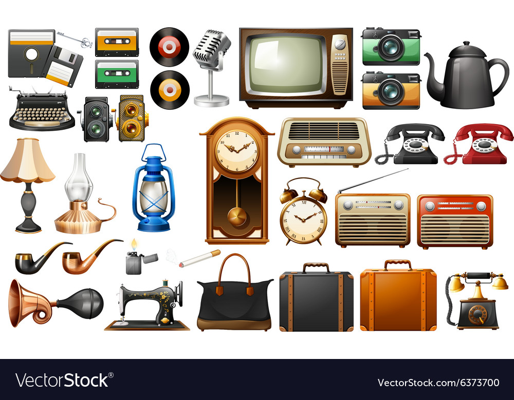Different kind of antiques vector
