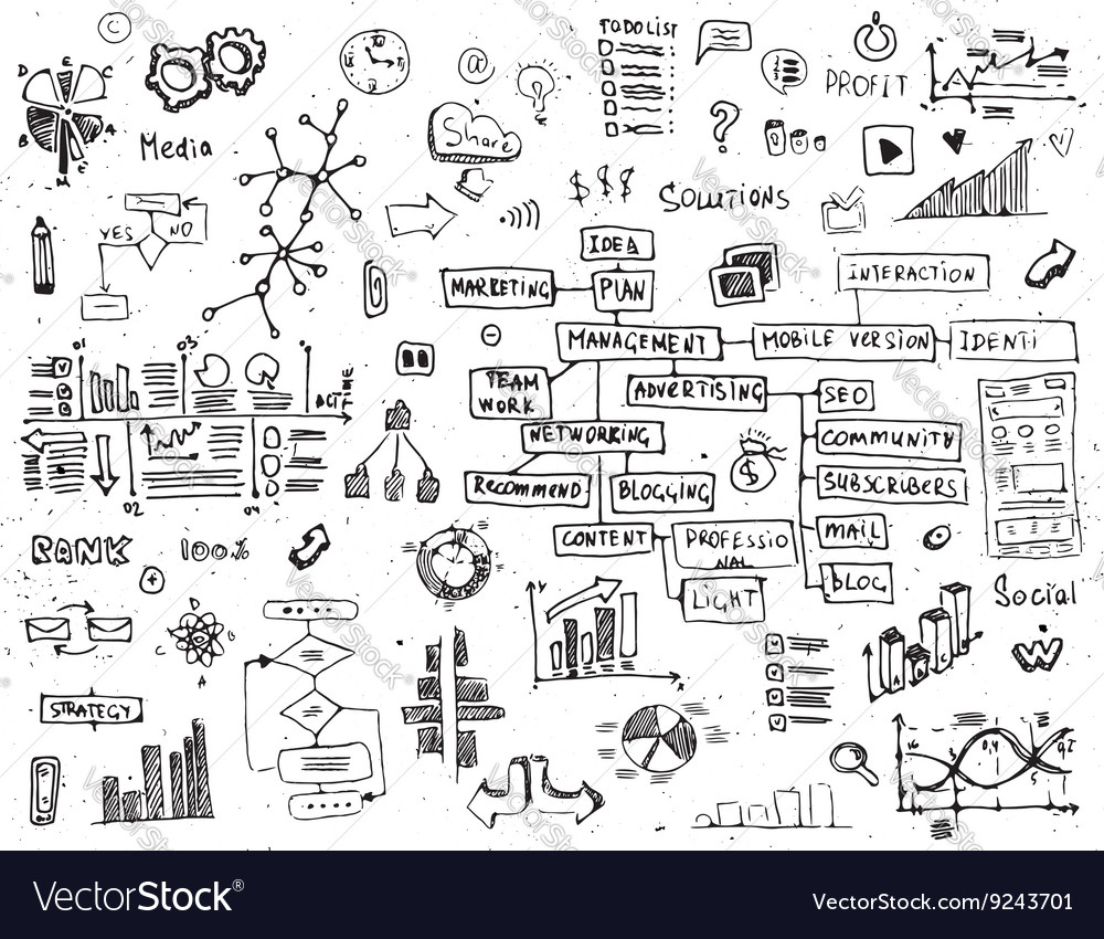 Social network doodles  hand drawn set of media vector