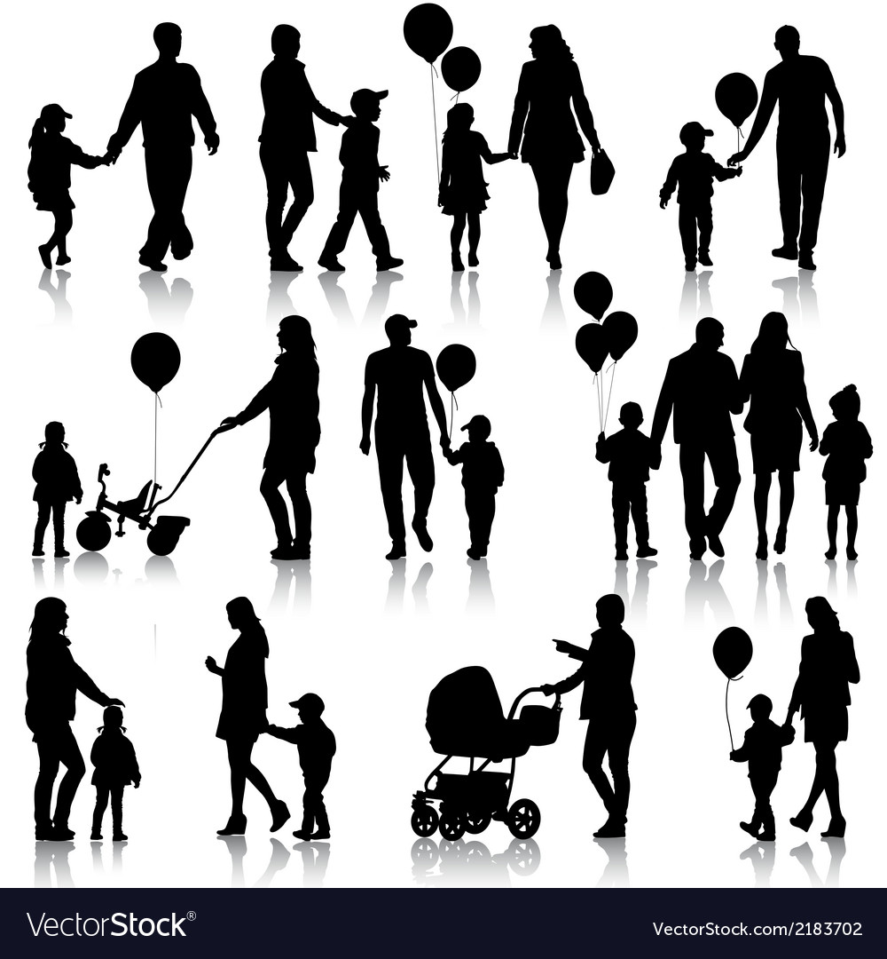Black set of silhouettes of parents and children vector