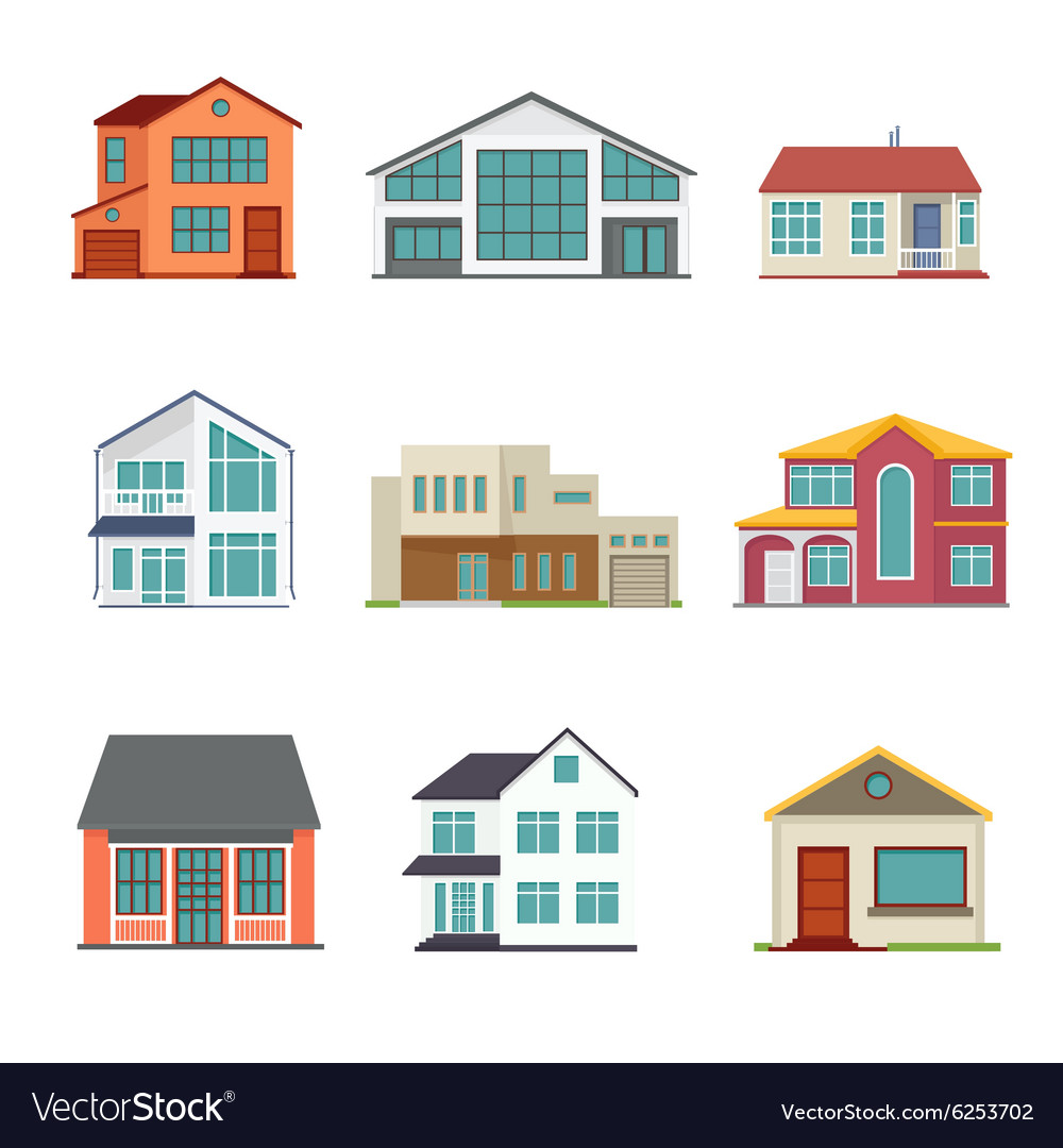 Set of cottage building flat icons vector