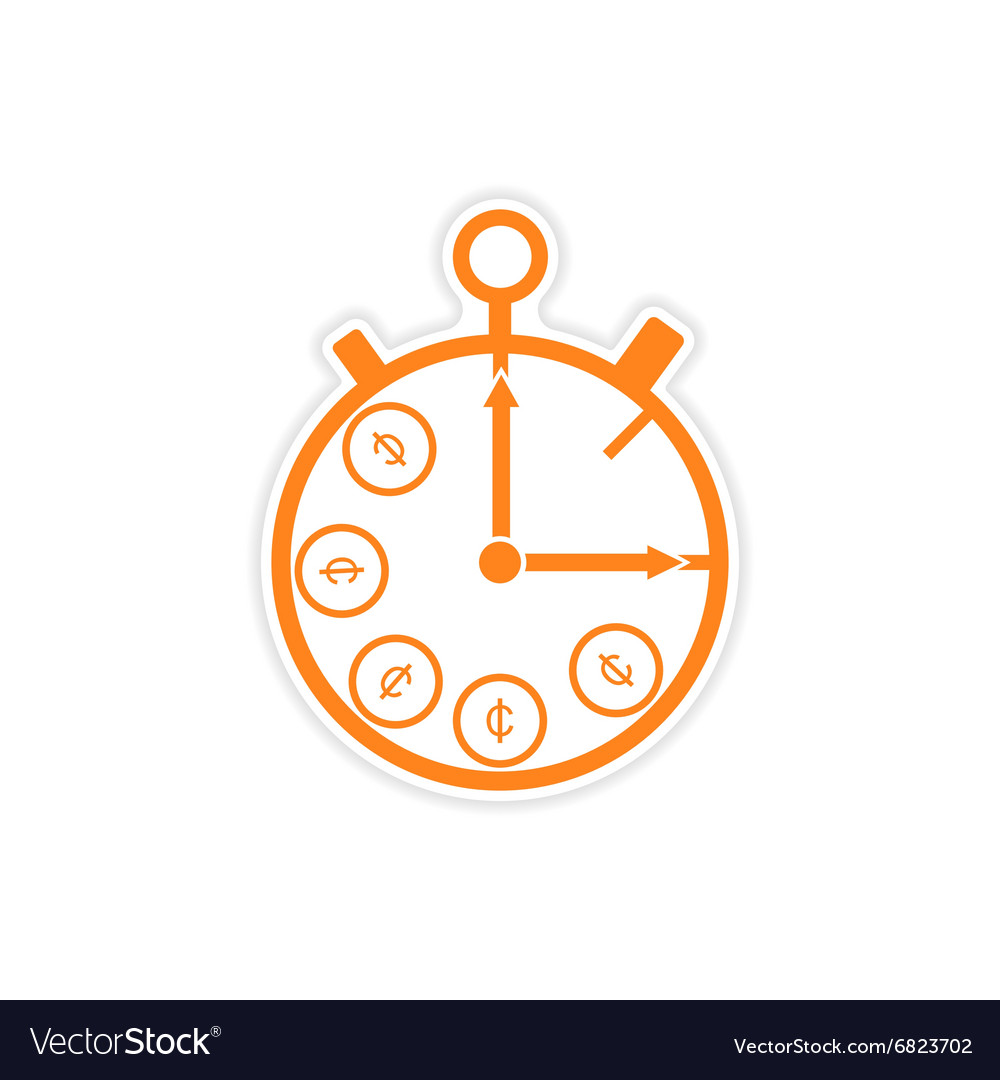 Stylish sticker on paper stopwatch and money vector