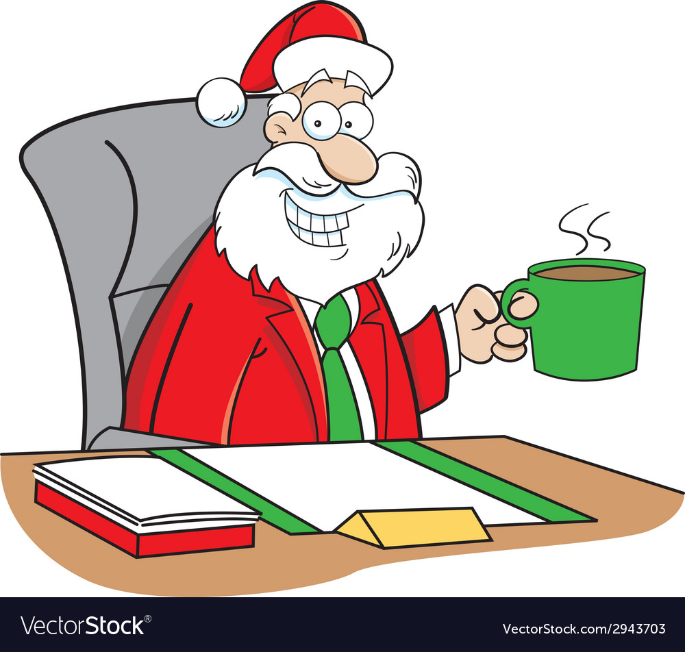 Cartoon santa sitting at a desk vector