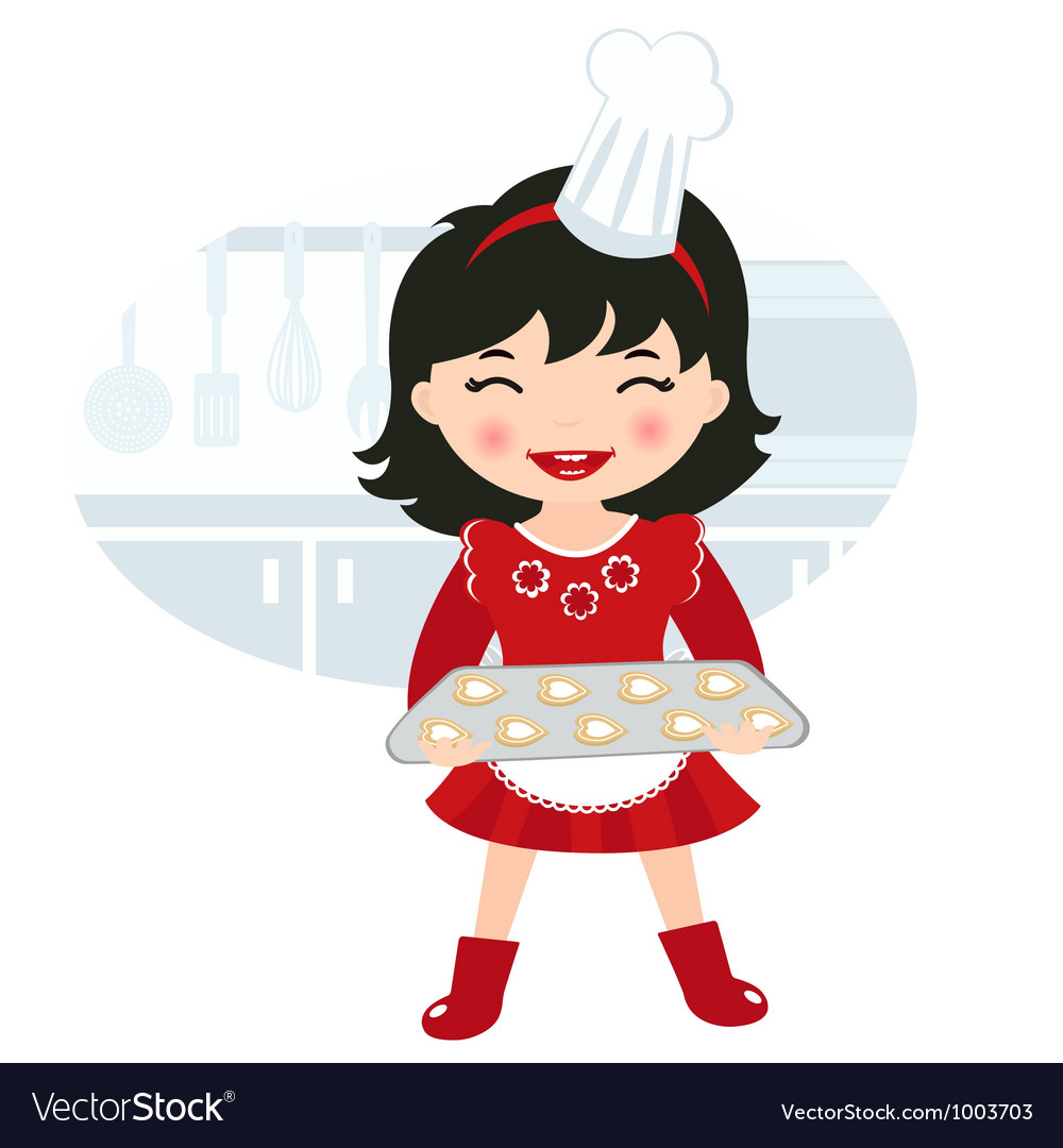 Girl baking cookies vector