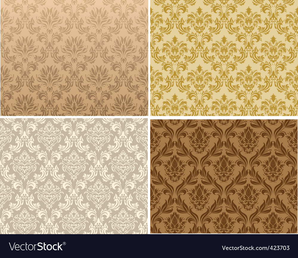 Seamless damask pattern set vector
