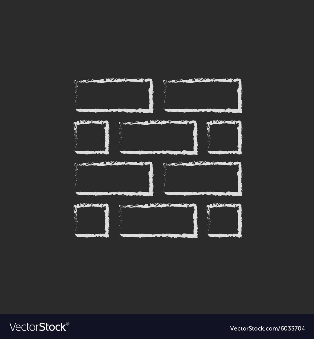 Bricks icon drawn in chalk vector