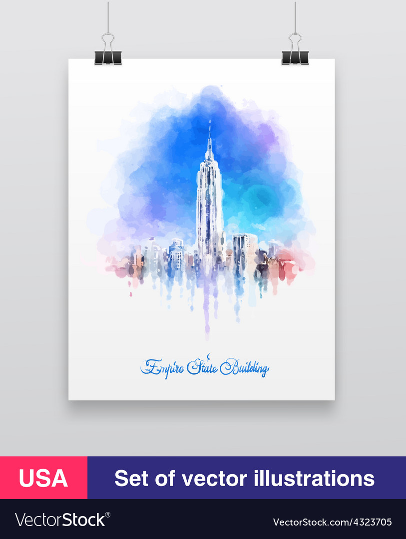 New york city skyline with urban skyscrapers vector
