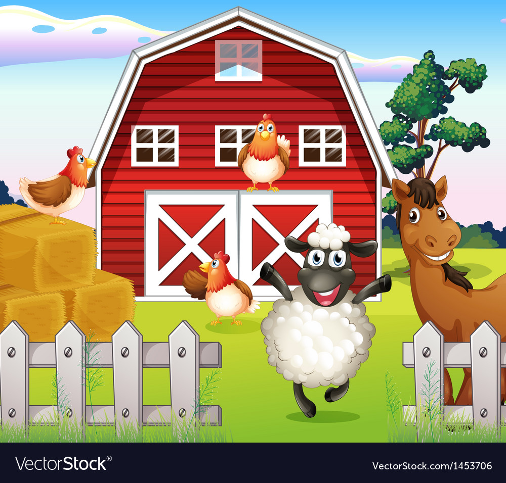 Animals at the farm with a barnhouse vector