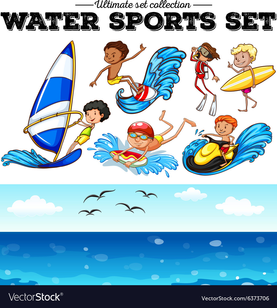 Different kind of water sports vector