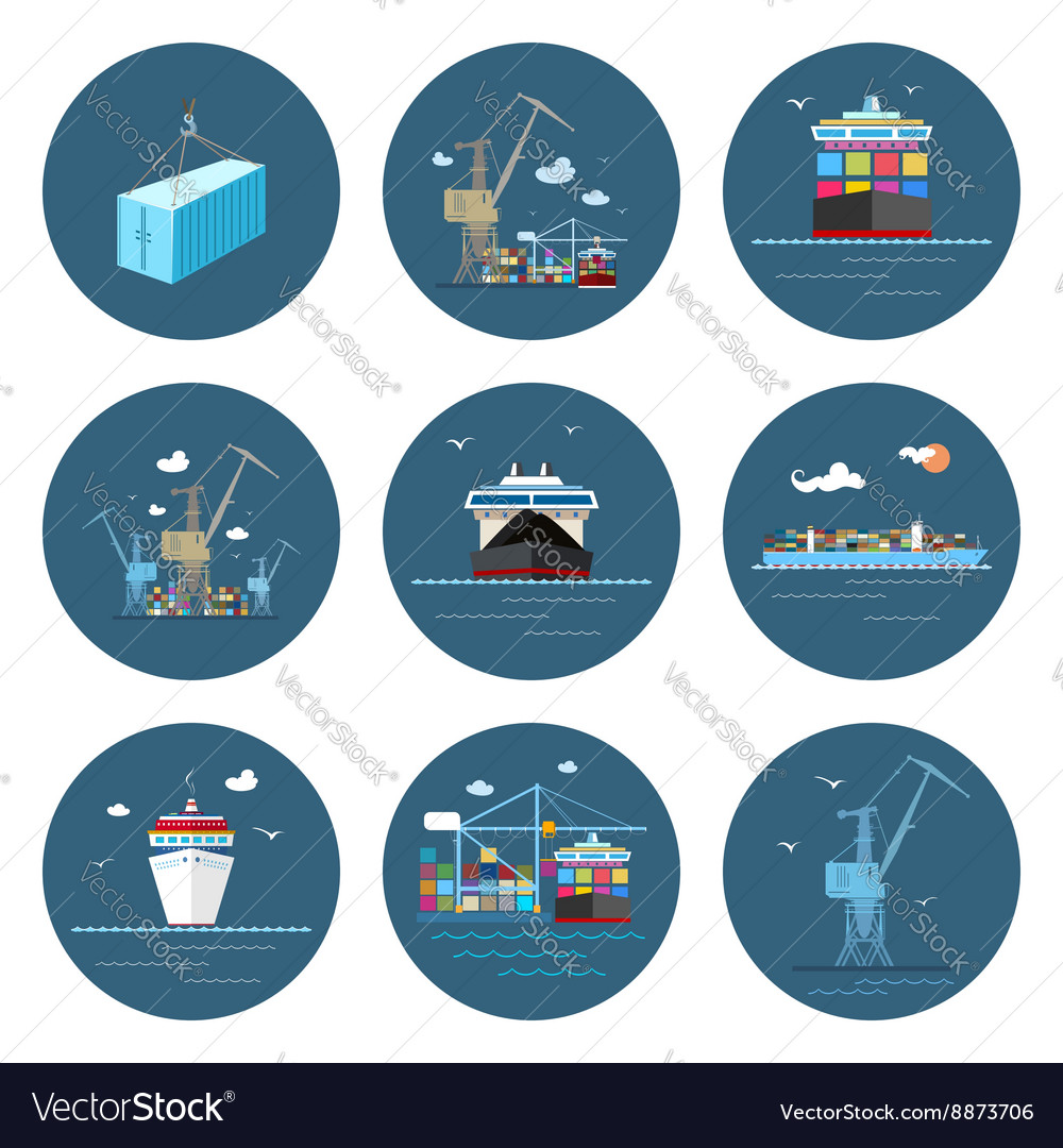 Set of cargo icons freight transportation vector