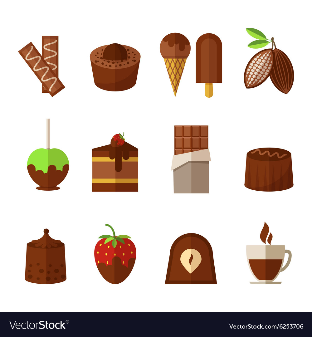 Sweets and chocolate icons set in flat vector