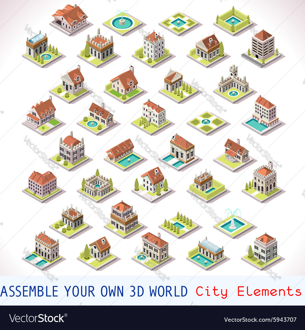 Game set 03 building isometric vector
