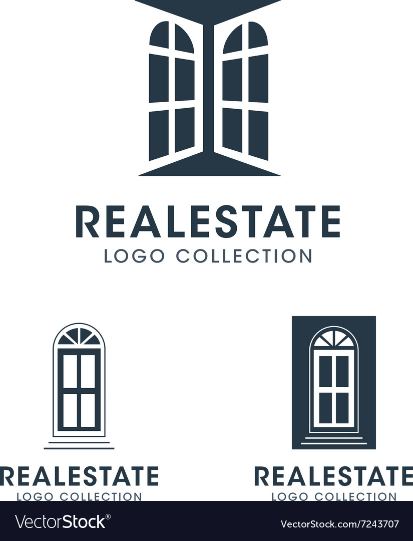 Silhouette windows and doors logos and icons vector