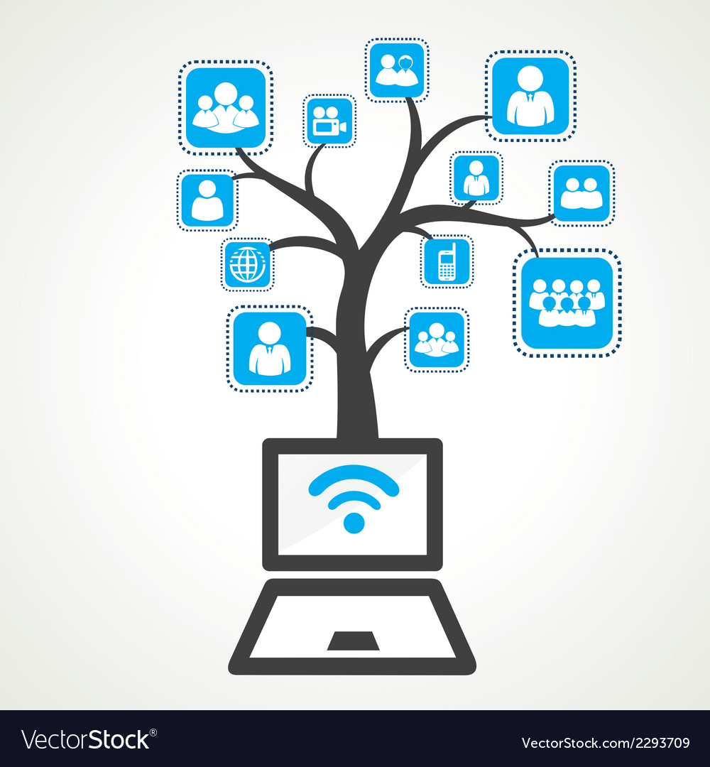 Connect with wifi of different group people stock vector