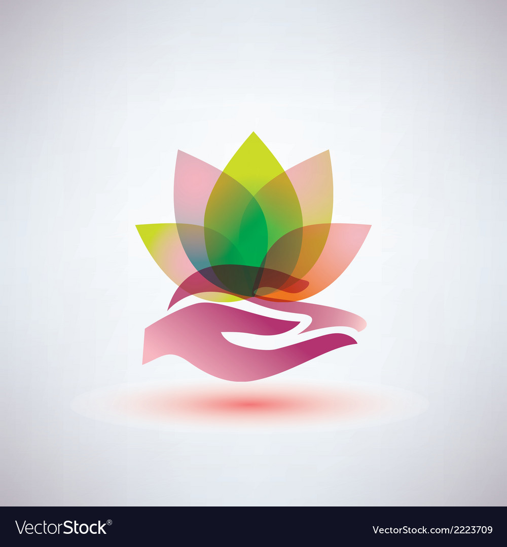Palm and flower vector