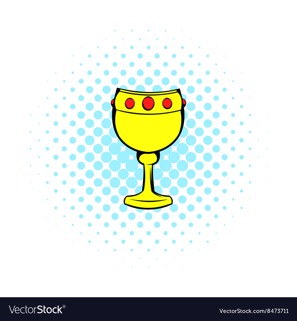 Chalice with wine icon comics style vector