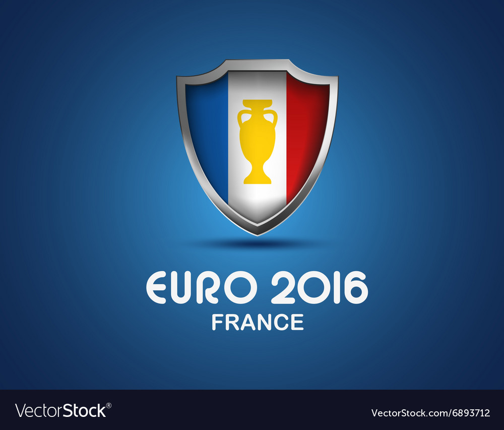 France euro 2016 concept shield with flag vector