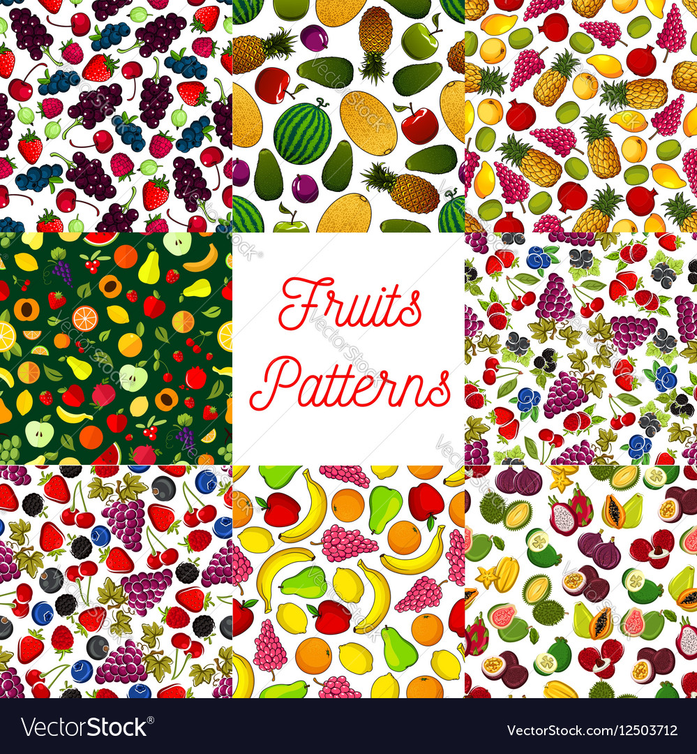 Fruit and berry seamless pattern for food design vector