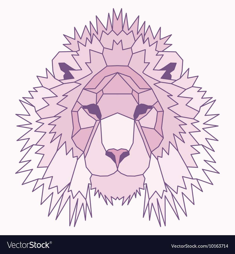 Pink low poly lined lion vector