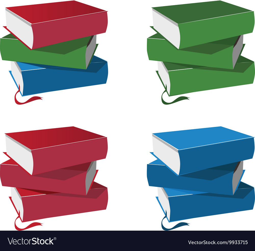 Stack of books set isolated on white background vector