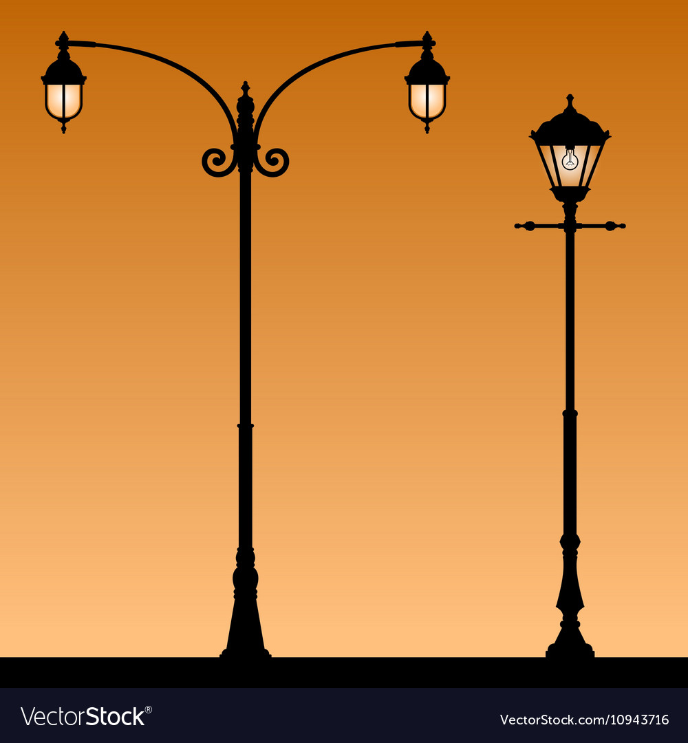 Vintage street light vector