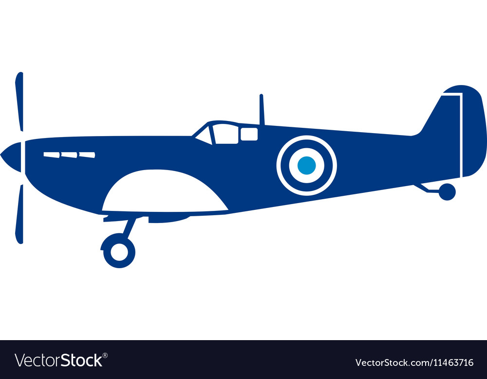 World war 2 fighter plane spitfire retro vector