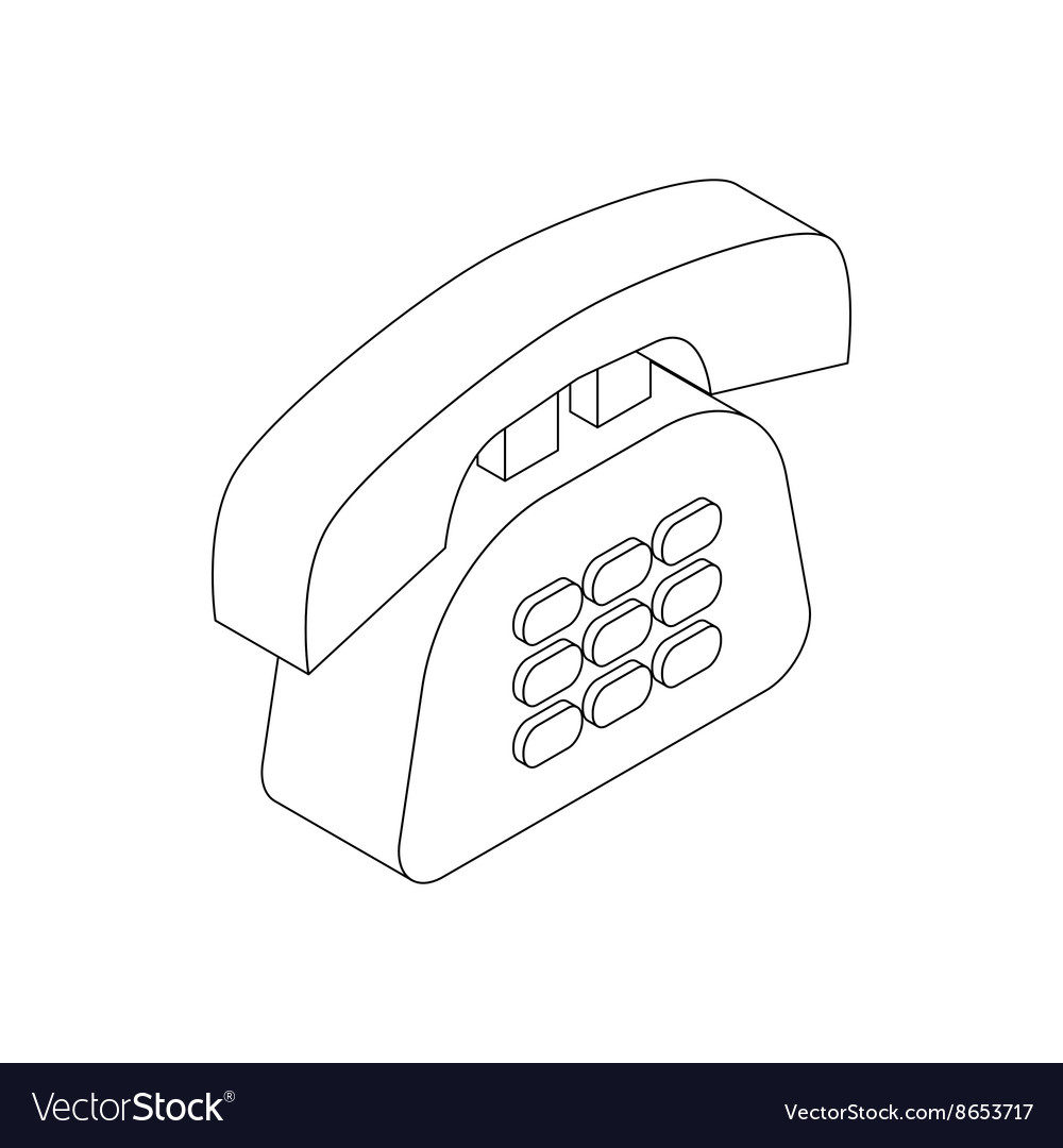 Office phone icon isometric 3d style vector