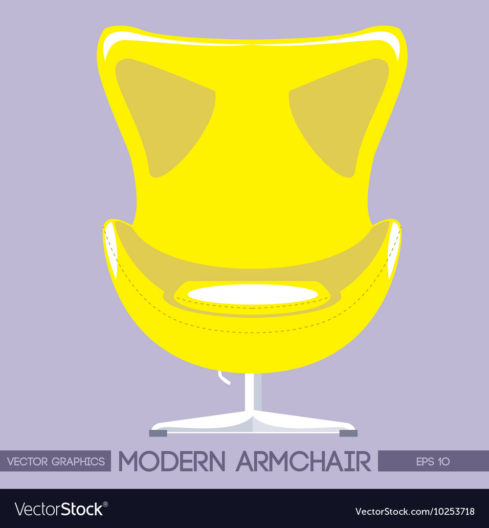 Yellow modern armchair over pink background digita vector
