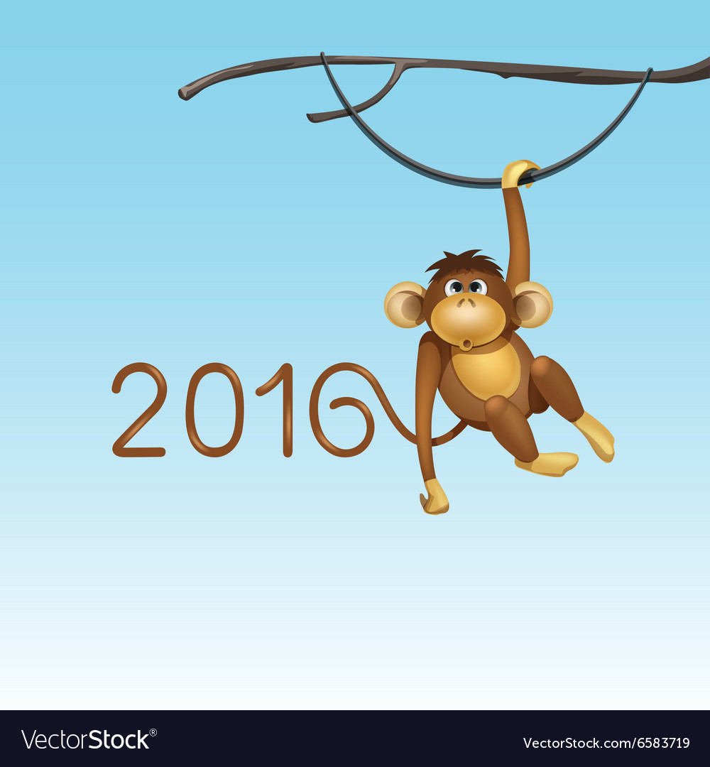 Happy new year of chinese monkey christmas card vector