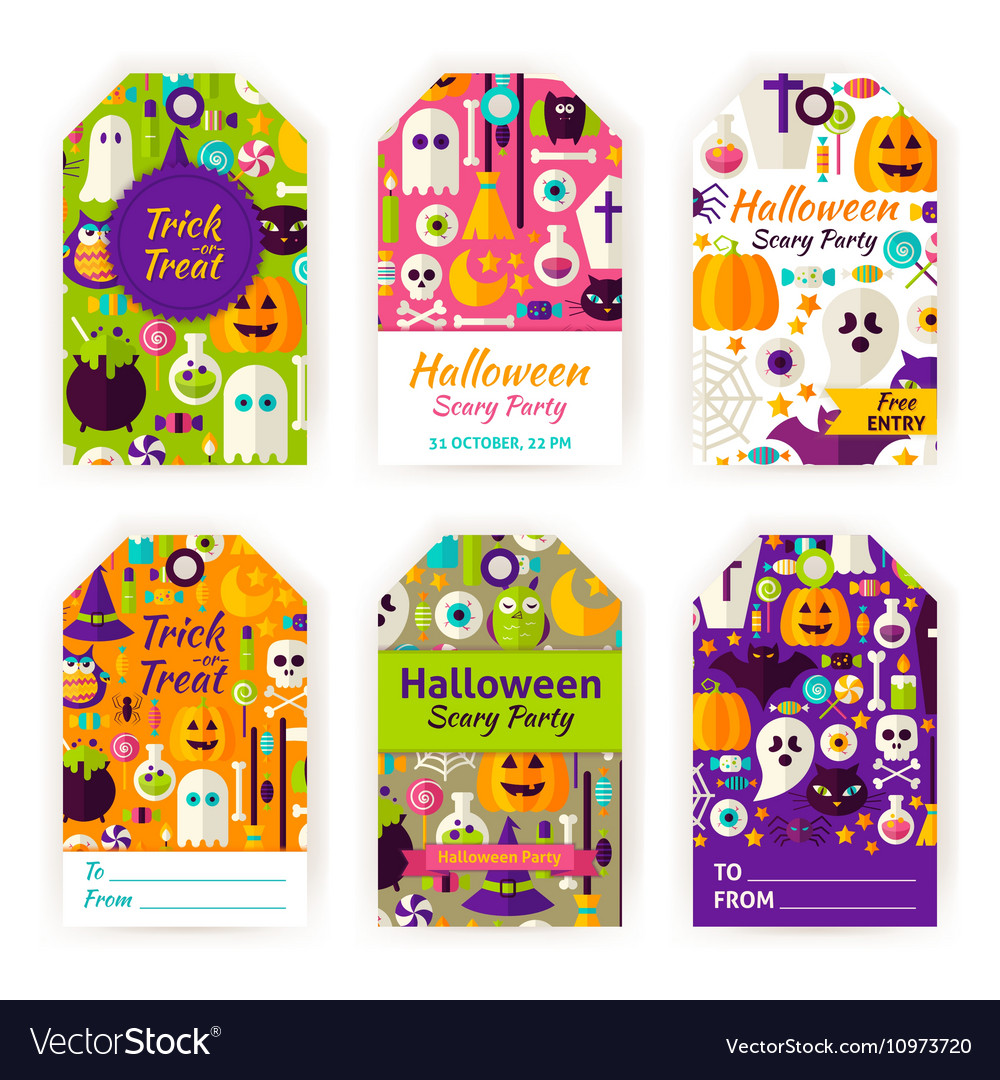 Halloween gift tag labels vector