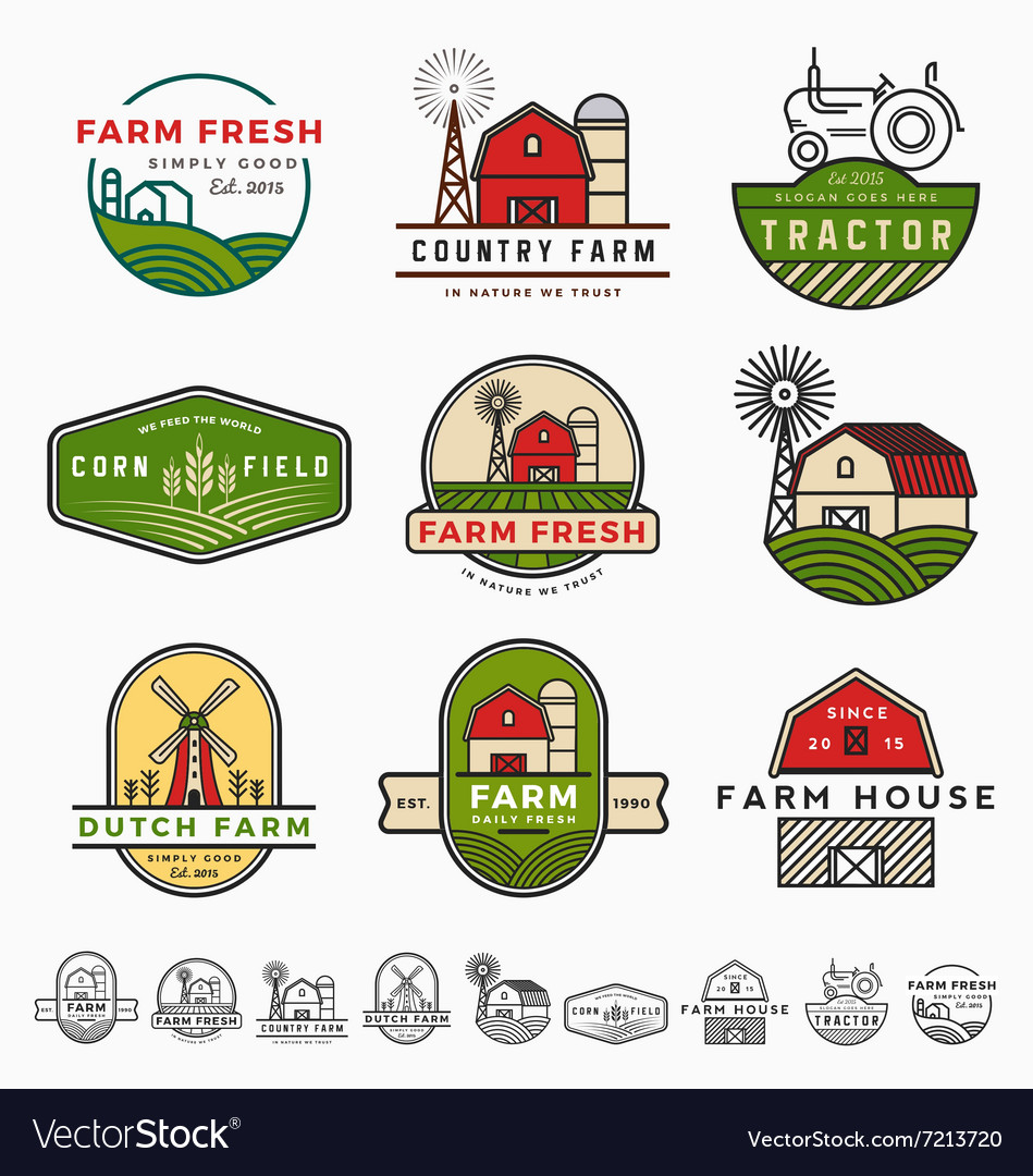 Vintage modern farm logo template design vector