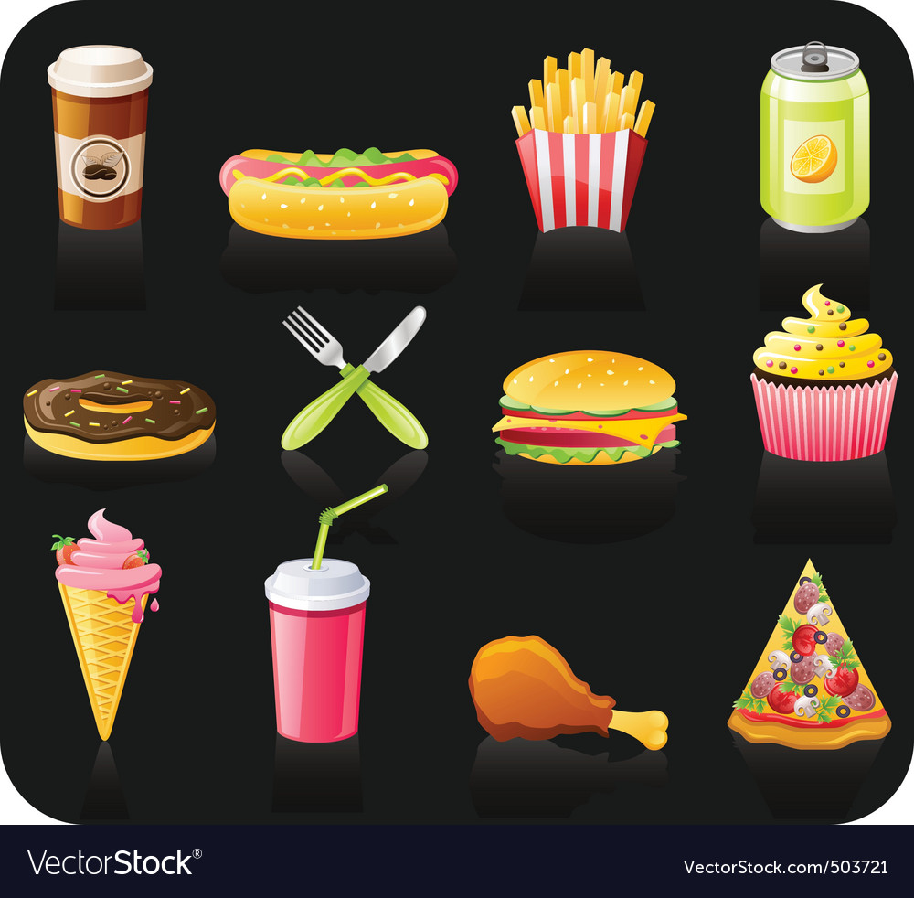 Fast food icon set vector