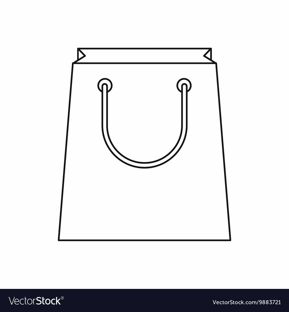 Paper shopping bag icon outline style vector