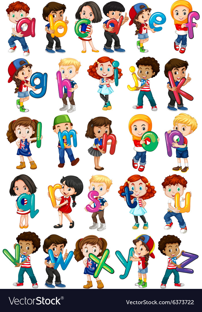 Children holding english alphabets vector